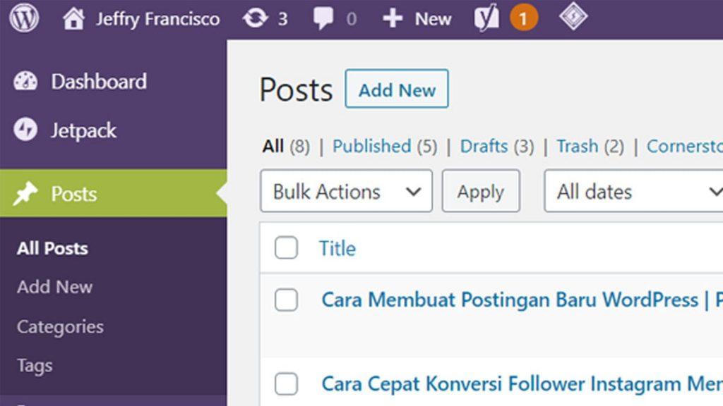 Menu Posting WordPress