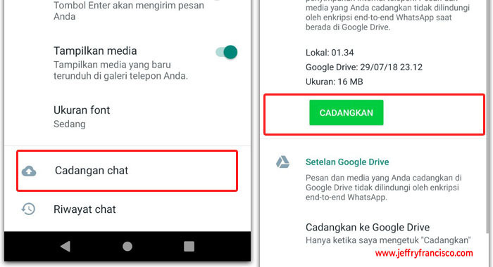 Backup WA ke Google